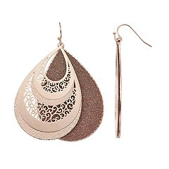 Glittery Nickel Free Teardrop Earrings