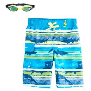 Boys 4-7 ZeroXposur Sharks & Stripes Swim Trunks with Goggles