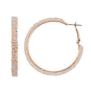 Pink Drusy Nickel Free Hoop Earrings