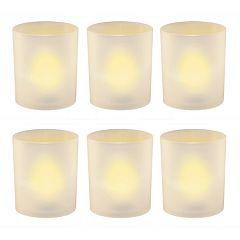 LumaBase Frosted Plastic Amber LED Candle 6 pc Set