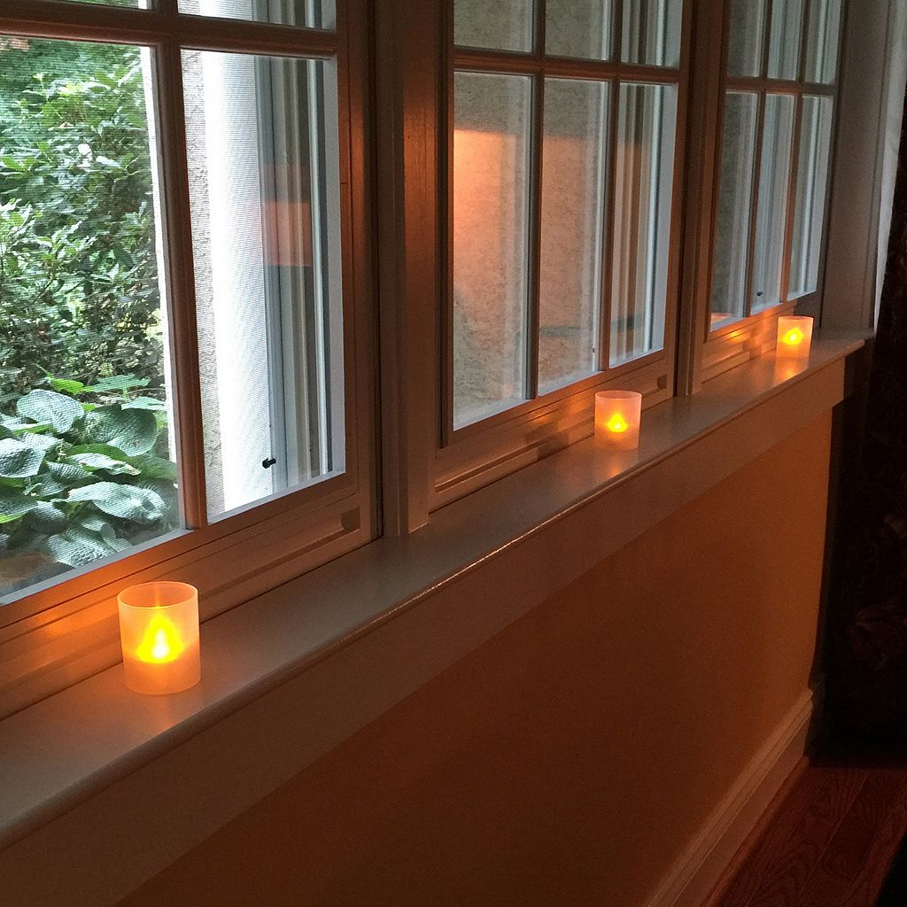 LumaBase Frosted Plastic Amber LED Candle 6-piece Set