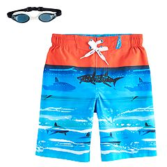 Boys 4-7 ZeroXposur Sharks & Reef Swim Trunks with Goggles