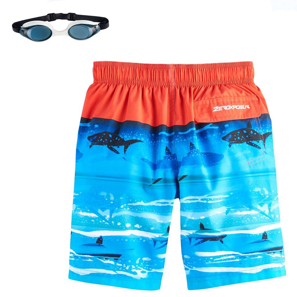 Boys 4-7 ZeroXposur Sharks & Reef Swim Trunks with Goggles