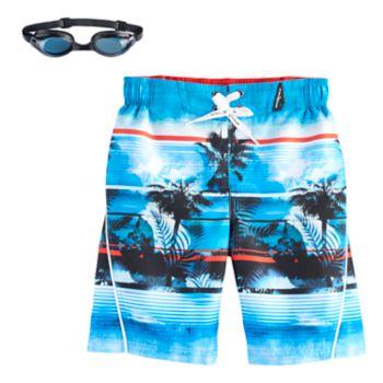 Boys 4-7 ZeroXposur Palm Trees Swim Trunks with Goggles