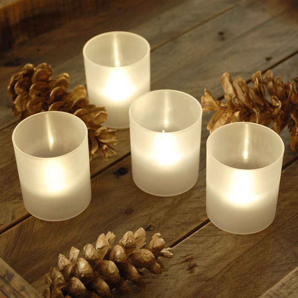 LumaBase Frosted Plastic Warm White LED Candle 6-piece Set