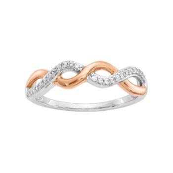 Two Tone 14k White Gold 1/8 Carat T.W. Diamond Twist Ring