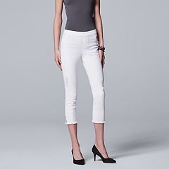 Simply Vera Vera Wang Frayed Side Split Denim Capri Leggings