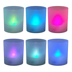 LumaBase Frosted Plastic Color-Changing LED Candle 6-piece Set