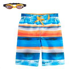 Boys 4-7 ZeroXposur Striped Watercolor Swim Trunks with Goggles