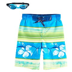 Boys 4-7 ZeroXposur Striped & Floral Swim Trunks with Goggles