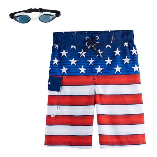 Boys 4-7 ZeroXposur American Flag USA Swim Trunks with Goggles