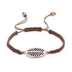 Woven Brown Cord Adjustable Leaf Bracelet