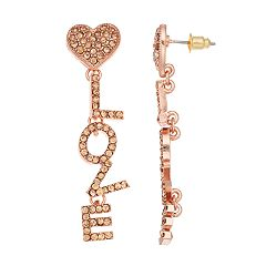 Mudd® 'Love' Heart Nickel Free Linear Earrings