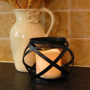 LumaBase Woven Orb Lantern & LED Candle 2-piece Set