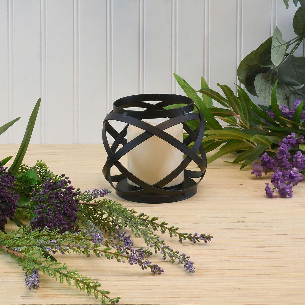 LumaBase Woven Orb Lantern & LED Candle 2-piece Set