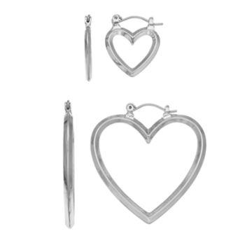 Mudd® Heart Square Tube Nickel Free Hoop Earring Set
