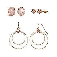 Mudd® Oval & Double Hoop Drop Nickel Free Earring Set