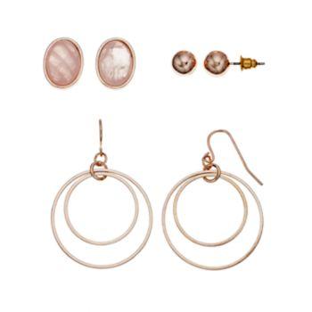 Mudd® Oval & Double Hoop Drop Nickel Free Earring Set