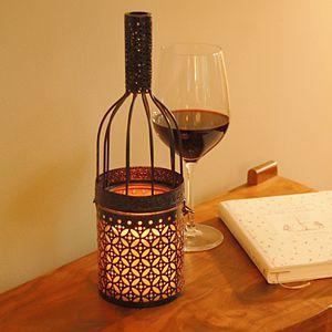 LumaBase Wine Bottle Lantern & LED Candle 2-piece Set