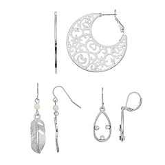 Mudd® Filigree Crescent, Feather & Teardrop Nickel Free Earring Set