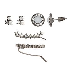 Mudd® Stone Cluster, Button & Crawler Earring Set