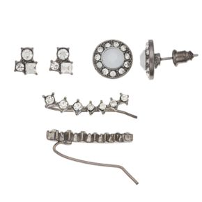 Mudd® Stone Cluster, Button & Crawler Earring Set