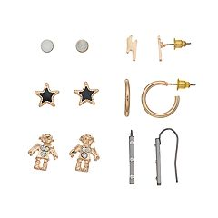 Mudd® Robot, Star & Lighting Bolt Nickel Free Earring Set