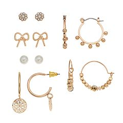 Mudd® Bow, Button & Beaded Hoop Nickel Free Earring Set