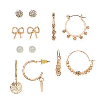Mudd® Bow, Button & Beaded Hoop Nickel Free Earring Set