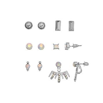 Mudd® Simulated Aurora Borealis Nickel Free Stud Earring Set