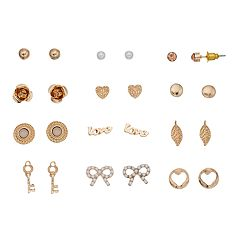 Mudd® 'Love,' Heart & Key Nickel Free Stud Earring Set
