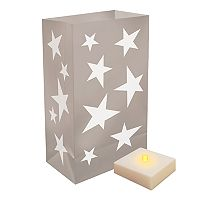 LumaBase Indoor / Outdoor Star Luminaria Bag & LED Light 12 pc Set