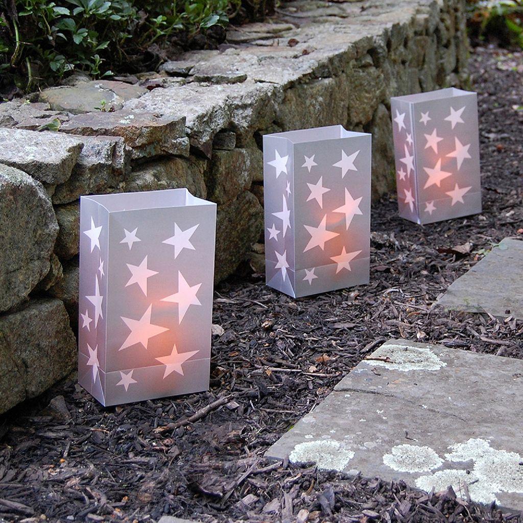 LumaBase Indoor / Outdoor Star Luminaria Bag & LED Light 12-piece Set