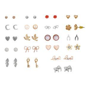 """Mudd® """"Love,"""" Elephant, Heart & Flower Nickel Free Stud Earring Set"""
