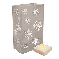 LumaBase Indoor / Outdoor Snowflake Luminaria Bag & LED Light 12-piece Set