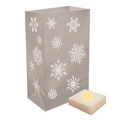 LumaBase Indoor / Outdoor Snowflake Luminaria Bag & LED Light 12 pc Set