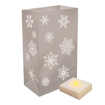 LumaBase Indoor / Outdoor Snowflake Luminaria Bag & LED Light 12-piece Set