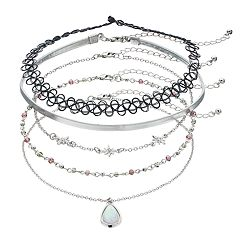 Mudd® Teardrop, Starburst & Tattoo Choker Necklace Set
