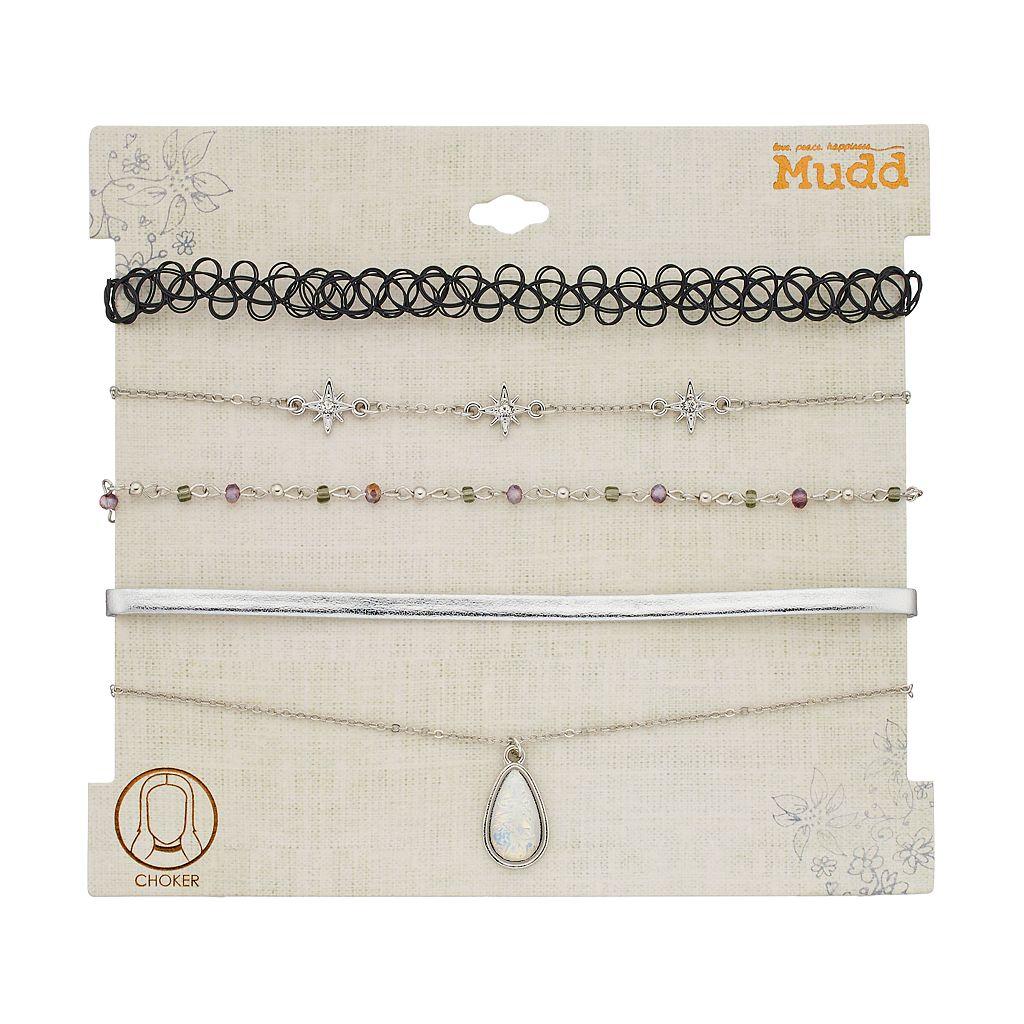 Mudd® Teardrop, Starburst & Tattoo Choker Necklace Set