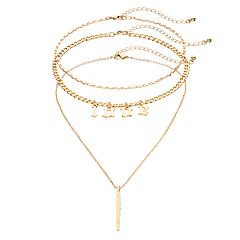 Mudd® 'Love' Choker & Feather Pendant Necklace Set