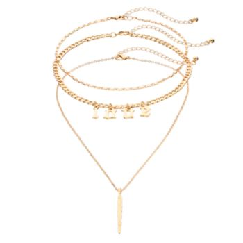 "Mudd® ""Love"" Choker & Feather Pendant Necklace Set"