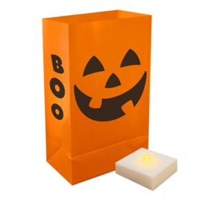LumaBase Indoor / Outdoor Jack-O'-Lantern Halloween Luminaria Bag & LED Light 12-piece Set