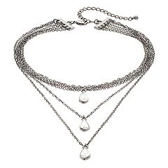 Mudd® Teardrop Layered Choker Necklace