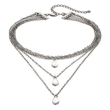 Mudd® Teardrop Layered Choker Necklace
