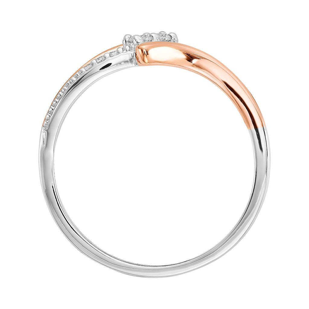 Two Tone 14k White Gold 1/10 Carat T.W. Diamond 2-Stone Bypass Ring