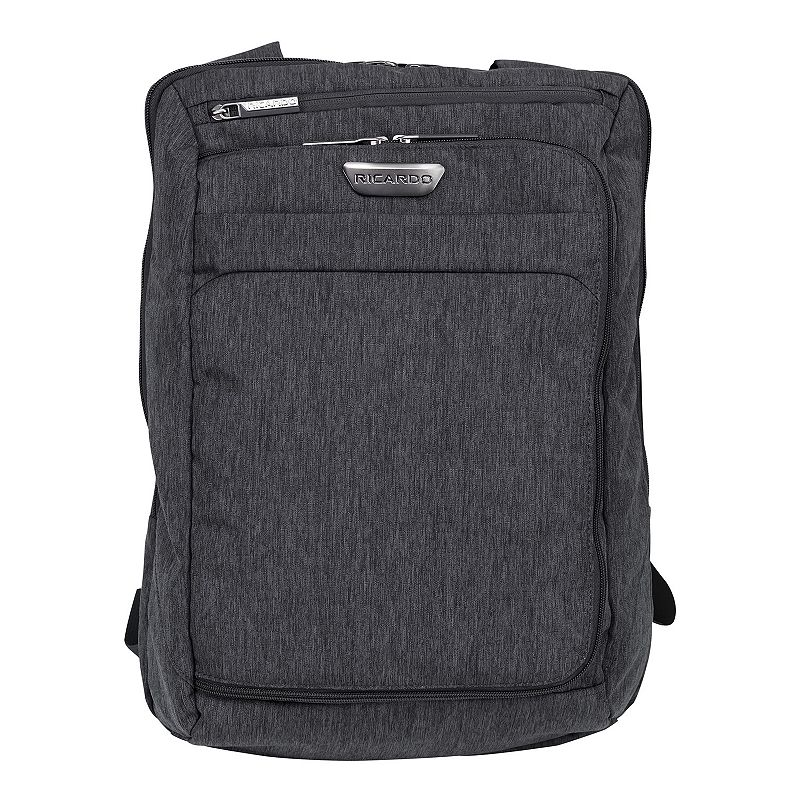 Ricardo Coastal Laptop Backpack, Grey Flying to your next destination will be a breeze with this Ricardo Coastal luggage. Built from tear- and abrasion-resistant ripstop polyester fabric Adjustable, padded backpack straps and an integrated top- and side-grip handles ensure easy carrying Two exterior zip pockets, including a front-zip pocket and a microfiber-lined pocket that protects and stores your eyewear and smartphone Zippered compartment holds up to a 15-inch laptop and lets you access your tech quickly at security checkpoints Roomy main compartment includes three mesh slip pockets for enhanced organization Padded, microfiber-lined technology sleeve in main compartment with a hook-and-loop closure holds your tablet and other technology A large book opening front zip pocket offers ample organization, including three mesh zip pockets, a swivel key fob, and pockets for your business cards, phone and pens Overall: 18.6''H x 13''W x 6.6''D Case: 18''H x 12''W x 6''D Polyester Wipe clean Manufacturer's lifetime limited warrantyFor warranty information please click here Size: One size. Color: Grey. Material: Soft Side.