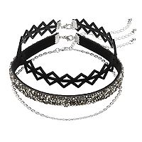 Mudd® Simulated Crystal, Spiky & Chain Choker Necklace Set