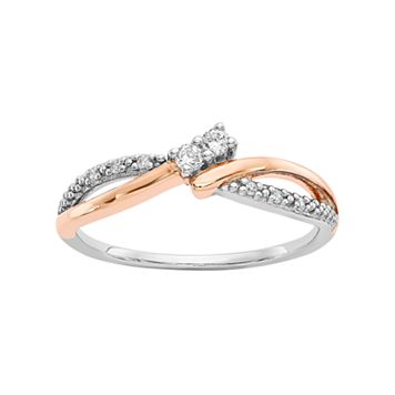 Two Tone 14k White Gold 1/10 Carat T.W. Diamond 2-Stone Ring
