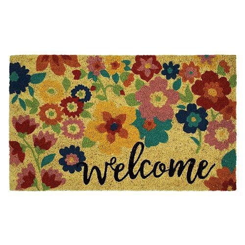 Mohawk 174 Home Summer Floral Quot Welcome Quot Coir Doormat 18 Quot X 30 Quot