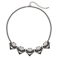 Mudd® Glittery Oval Chevron Necklace